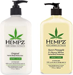 product image for Hempz Natural Herbal Body Moisturizer: Original and Sweet Pineapple & Honey Melon Skin Lotion, (2 Pack) 17 oz Each