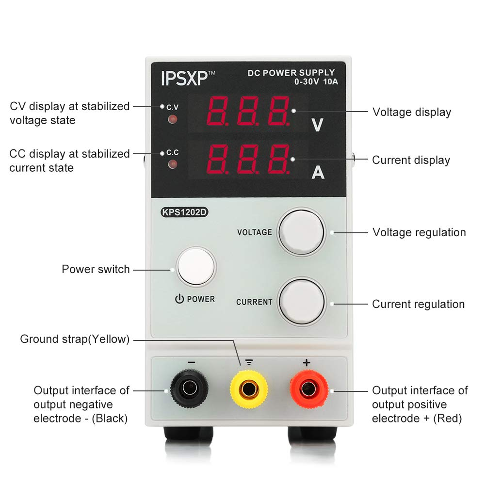 Variable DC Power Supply, IPSXP KPS1203D Adjustable Switching Regulated Power Supply Digital, 0-30 V 0-10 A with Alligator Leads US Power Cord by IPSXP (Image #2)