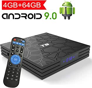 Android TV Box 9.0 with 4GB RAM 64GB ROM, EASYTONE T9 Android Box Quad Core 64bit/ 5G WiFi/ BT4.0/ H.265/ USB 3.0/ 3D UHD 4K Smart Internet TV Box