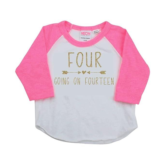 Amazon.com: 4 Going On Catorce Camisa de cumpleaños, Girl ...