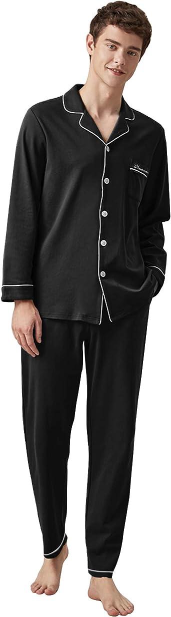 Men/'s Pajama 2 Pcs Set Long Sleeve Top Pants Male Collared Elastic Waist Cotton