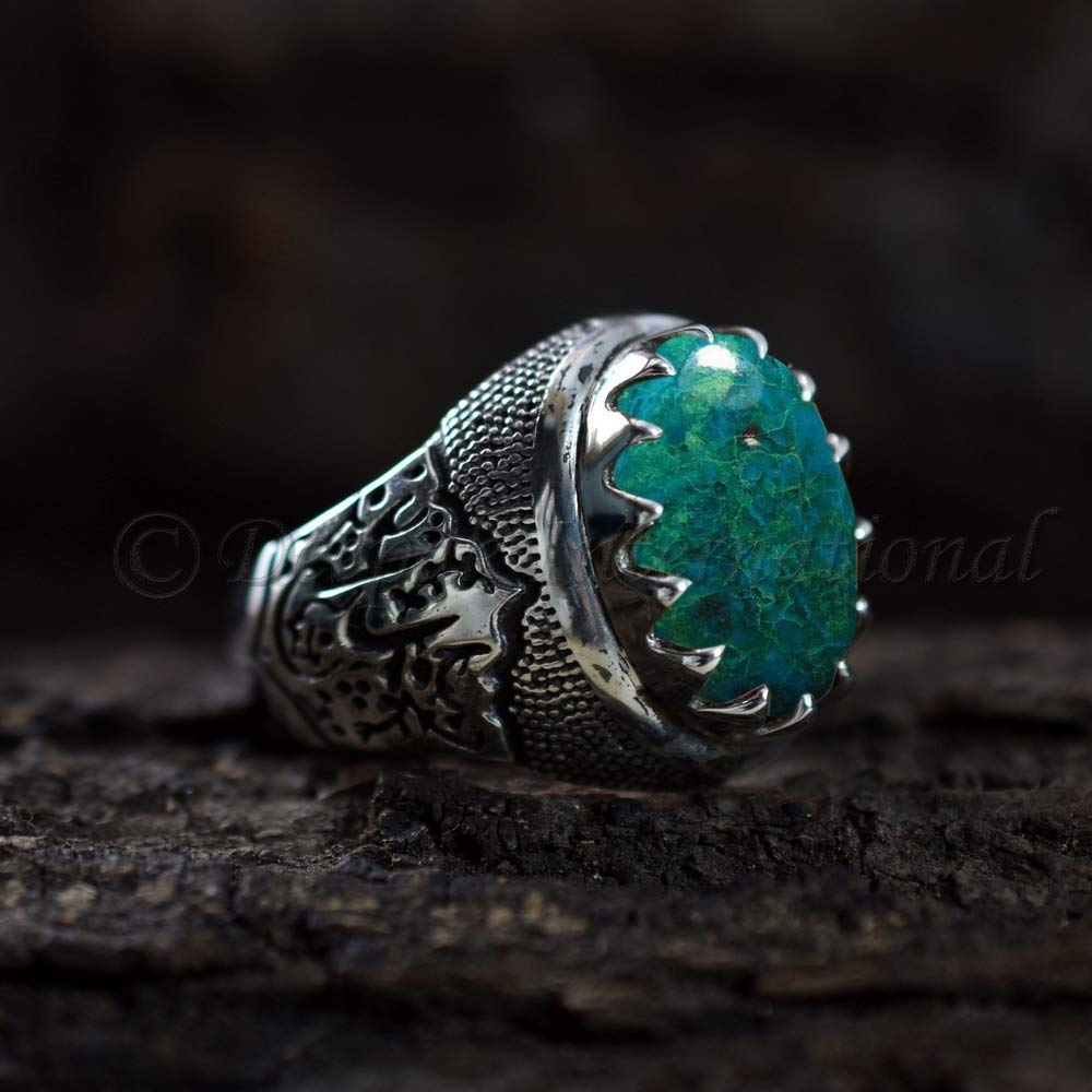 Natural Chrysocolla Ring 925 Sterling Silver Jewelry Chrysocolla Handcrafted Ring Men/'s Arabic Ring Handmade Islamic Signet Carved Ring