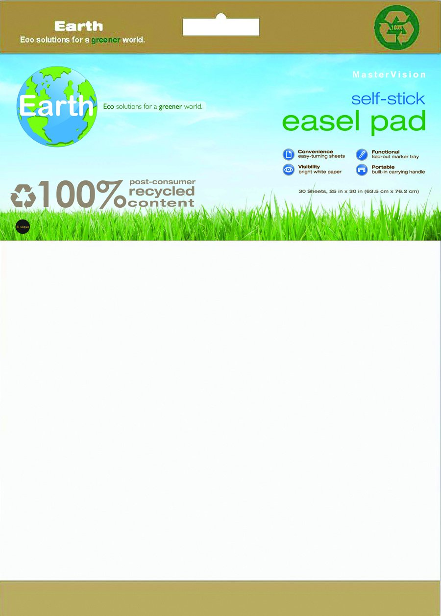 MasterVision Self-Stick Easel Pad Earth, Sheet Size 30'' x 25'', 30 Sheets Each, 2 Pack, White by MasterVision