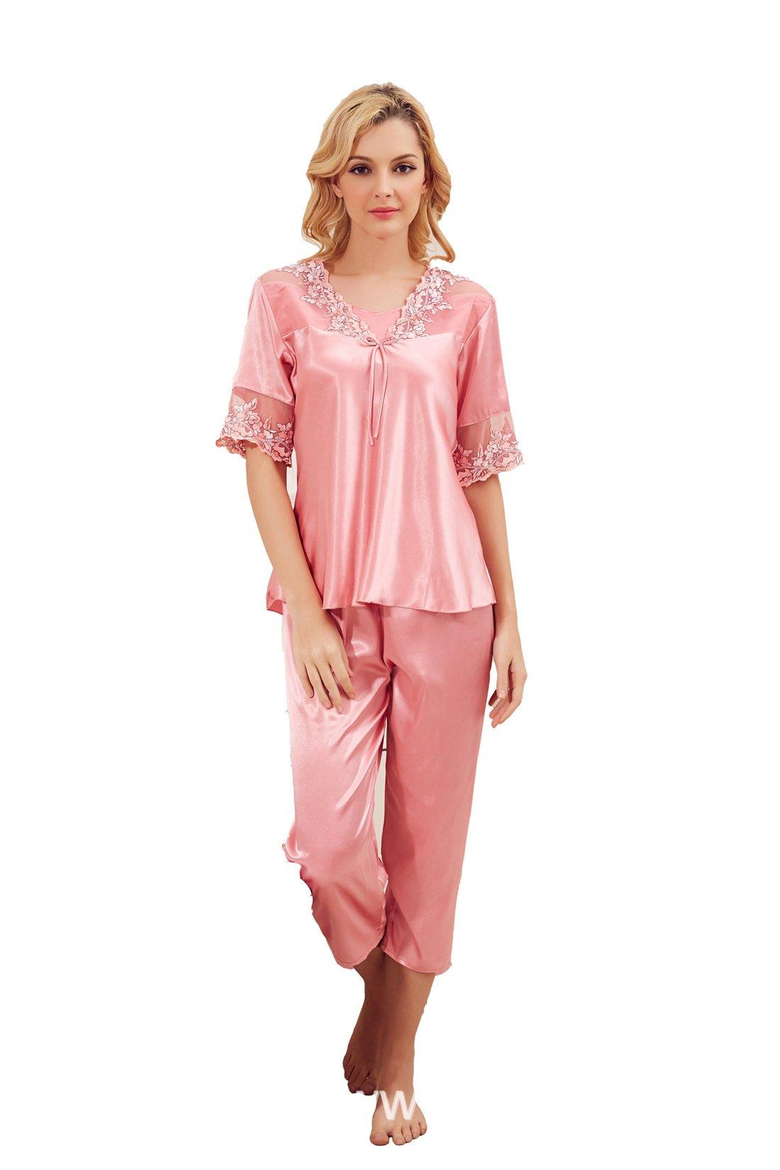 None-Brand Women's Satin Two Pieces Silk Pajamas Set Sleepwear Nightgown