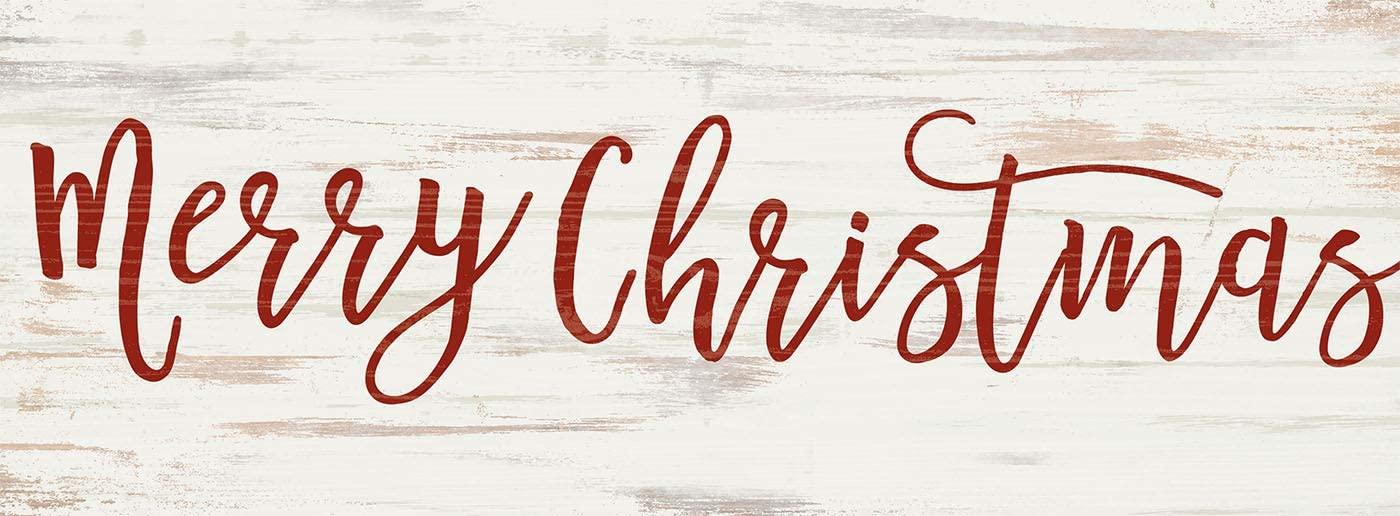 P. Graham Dunn Merry Christmas Rosy Red 10 x 3.5 Pine Wood Christmas Decorative Word Block Sign