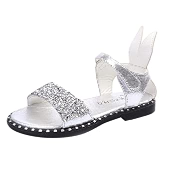 3d22c976f FEITONG 2018 Hot Sale Baby Girl Sandals Fashion Bling Shiny Rhinestone  Girls Shoes With Rabbit Ear