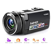 """Camcorder Video Camera Full HD 1080p Digital Camera 18X Digital Zoom Night Vision Pause Function with 3.0"""" LCD and 270 Degree Rotation Screen with Remote Controller"""