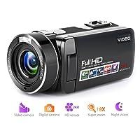 """Camcorder Videokamera Full HD 1080p Digitalkamera 18X Digitalzoom Nachtsicht- und Pause-Funktion mit 3,0"""" LCD und 270-Grad-Drehung Bildschirm und Fernbedienung"""