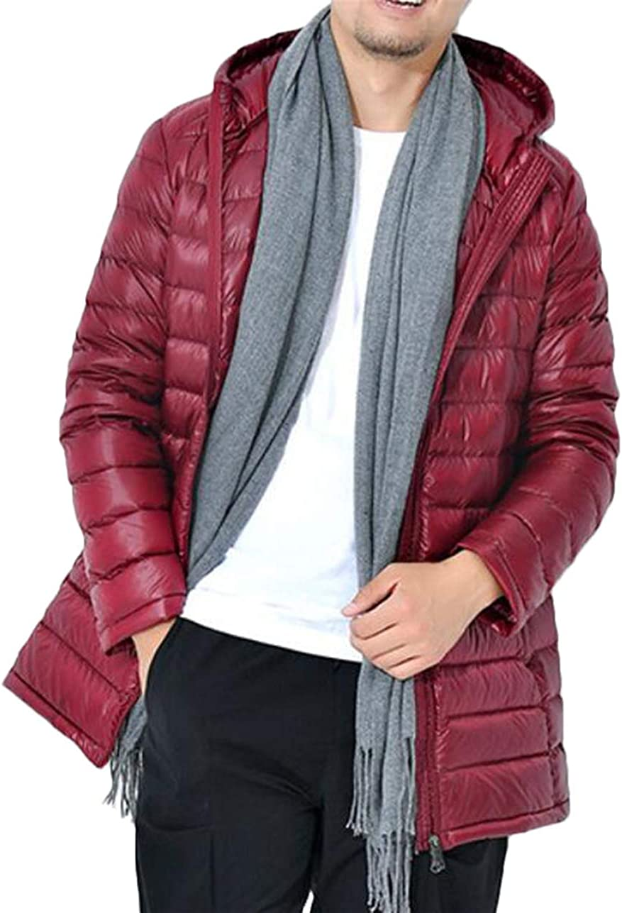 Fllay Mens Packable Hooded Mid-Length Lightweight Short Outerwear Down Puffer Jacket