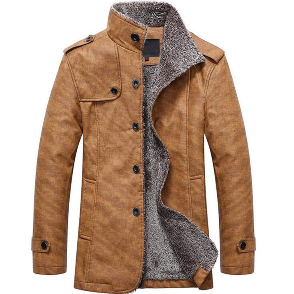 Rambling Fashion Men's Slim Wear Thick Fleece PU Leather Warm Jacket Coats