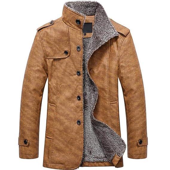 Bestow Moda Hombre otoño Invierno botón Casual Chaqueta de Cuero térmico Abrigos Abrigos Chaleco Sudadera suéter