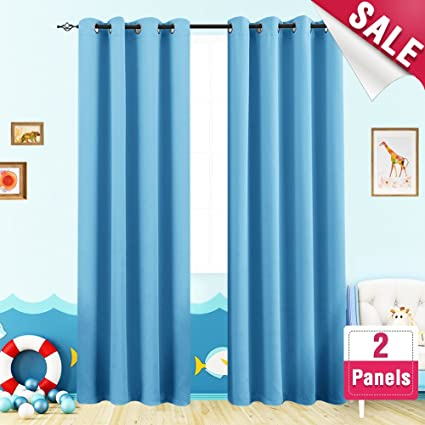 Blackout Curtains Kids Room 63 Inches Long Triple Weave Nursery Window  Curtain Panels Boyu0027s Room Darkening
