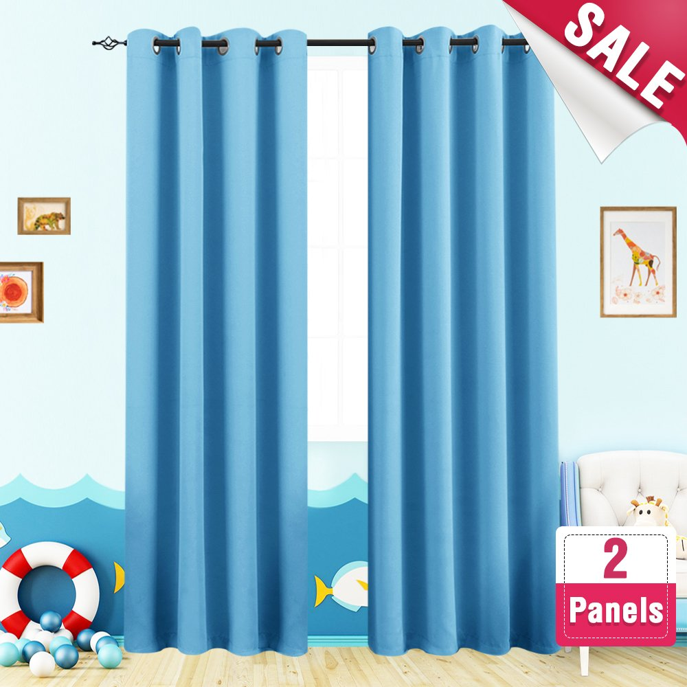 Blackout Curtains for Boy's Room 95 inches Long Triple Weave Nursery Window Curtain Panels for Kids Room Darkening Thermal Insulated Drapes, Grommet Top, 1 Pair, Royal Blue