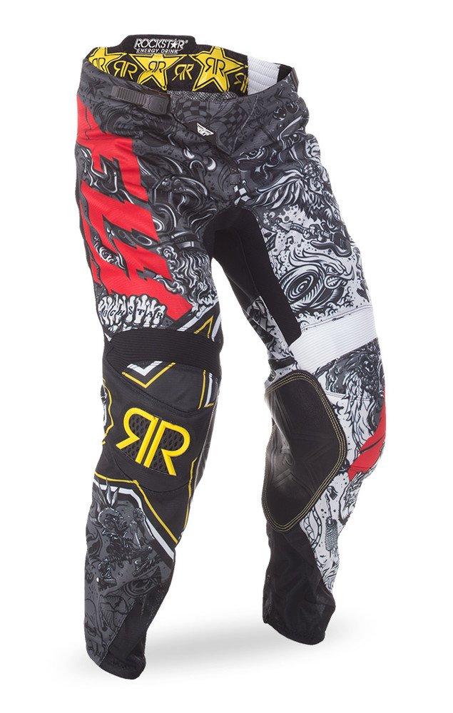 Fly Racing Unisex-Adult Kinetic Rockstar Mesh Pants (Black/White, Size 30)