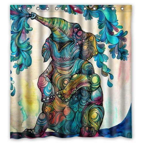 Mildew Resistant Waterproof Fabric Polyester Shower Curtains Liner 72x 72  Inch (Elephant)#4