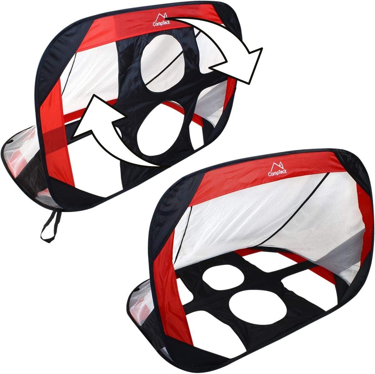 Noir et Rouge CampTeck U7169 Cage de Foot Enfant Portable Pop Up 2 en 1 avec Cibles Sac de Transport et Piquets de Fixation
