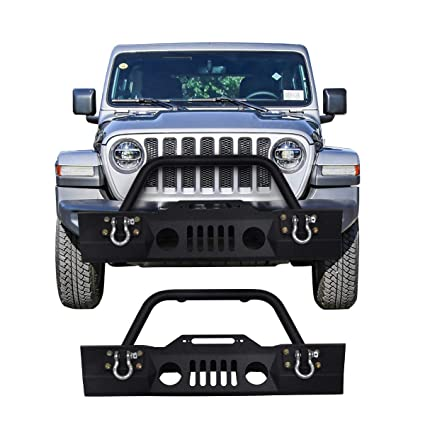 570957f894 Amazon.com: Goplus Front Bumper For 2007-2016 Jeep Wrangler JK With Hooks & Fog  Light Hole (Front Bumper- Fog Light): Automotive