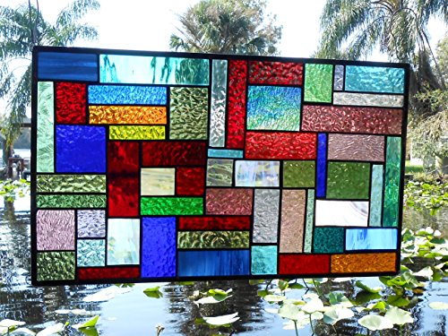 Stained Glass Window Panel, Multicolor Geometric Patchwork Quilt Window Valance, Stained Glass Transom Window, OOAK Antique Window (Stained Glass Transom)