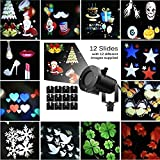 Holiday Led Projector Christmas Decoration Moving Lights 12 Pattern Replaceable Slides Indoor and Outdoor Garden Waterproof Lawn Lamp Halloween Birthday Wedding Party Christmas Tree Landscape Project