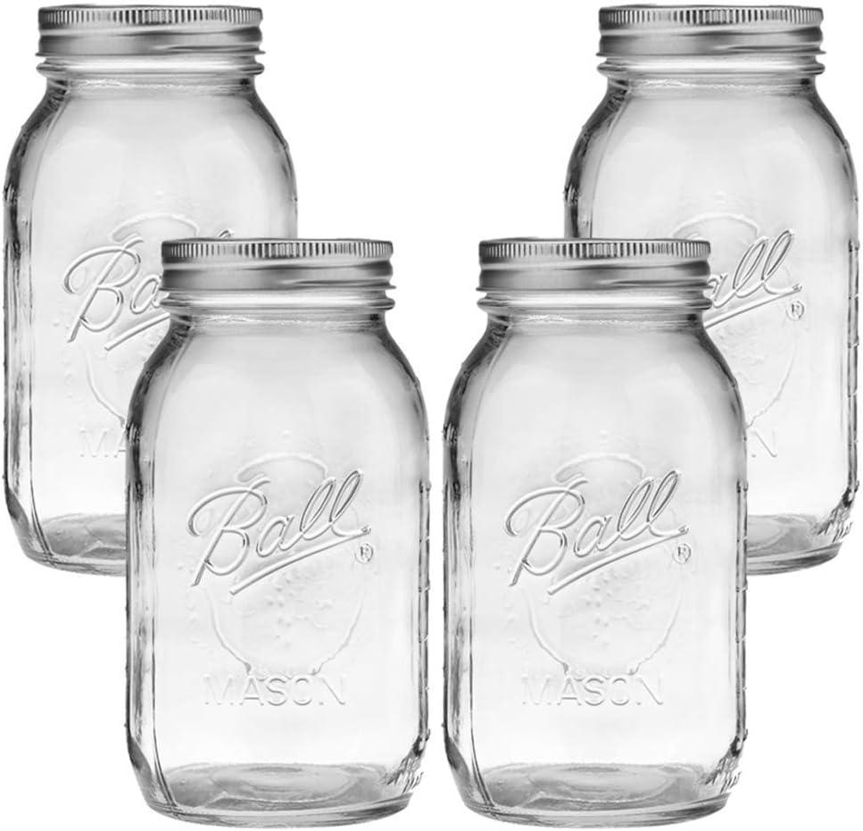 Clear Glass Ball Collection Heritage Series-Set of 4 Jars Ball Mason Jar-32 oz