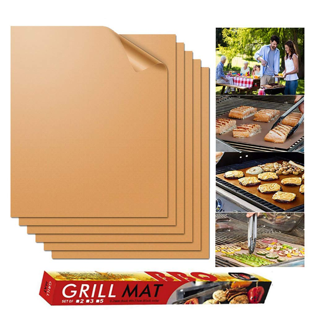 ZDYLM-Y BBQ Grill Mat Set of 6 Non Stick Heat Resistant, Reusable and Easy to Clean Teflon Grill Mat for Grilling Meat, Seafood, Veggies