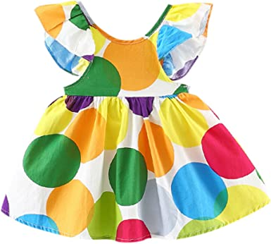 Toddler Infant Kid Baby Girl Dress A-Line Rainbow Party Pageant Sundress Clothes