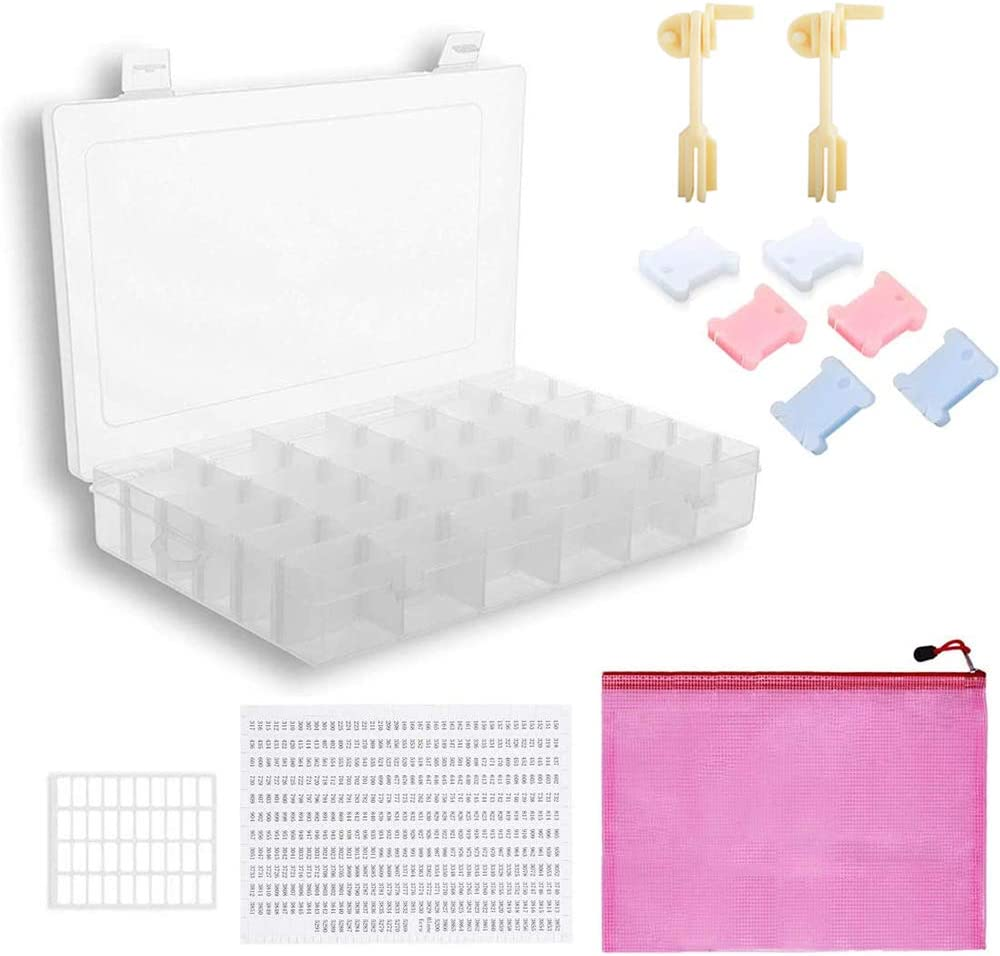 36 Compartments Jewelry Storage Box with 100 Pieces Floss Bobbins 1 Pieces Floss Winder and 2 Pieces Color Chip