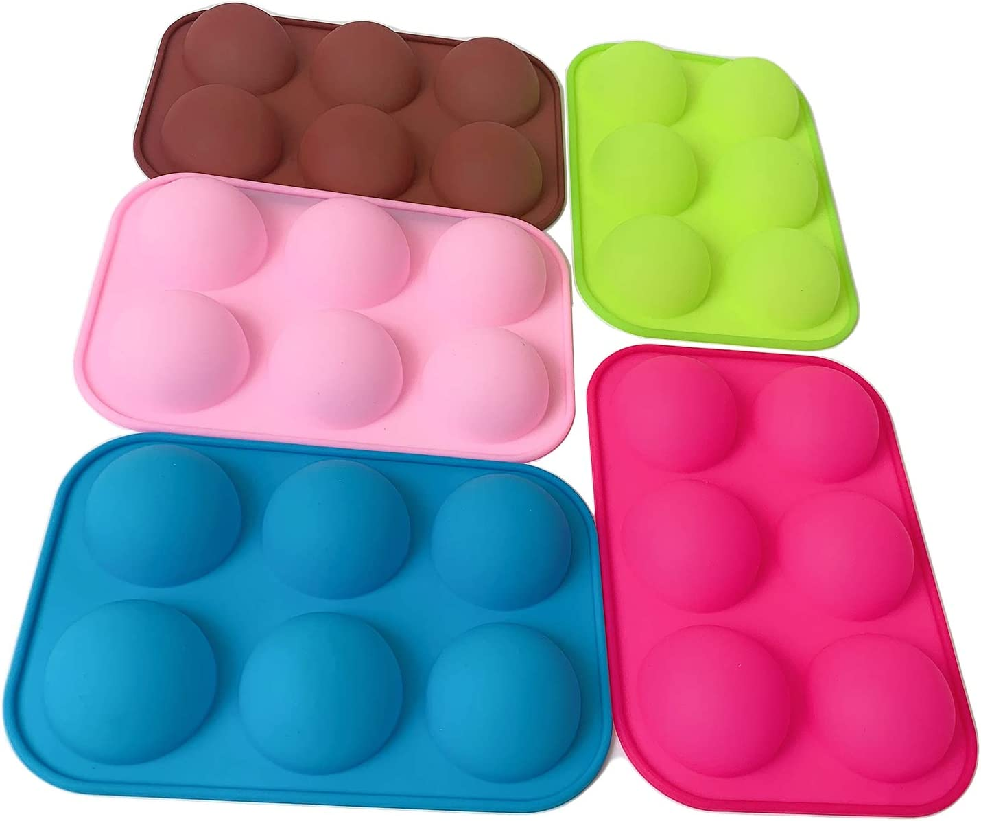 6 Holes Silicone Cake Mold, Chocolate Bomb Mold, Decor Accessories Candy Bakeware Kitchen Tools, Non Stick Round Shape Half Sphere Mold, BPA Free Cupcake Baking Pan(5Pcs)