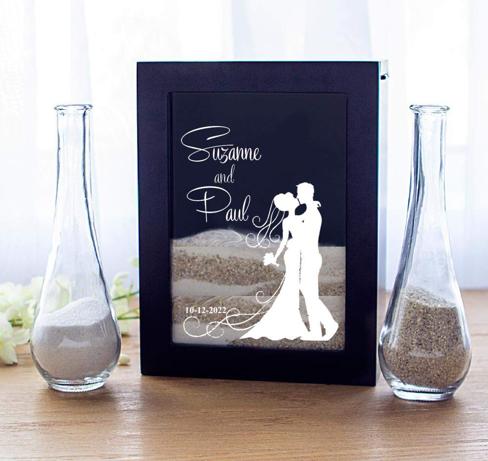 Cathy's Personalized Unity Sand Ceremony Shadow Box Set, Bride and Groom