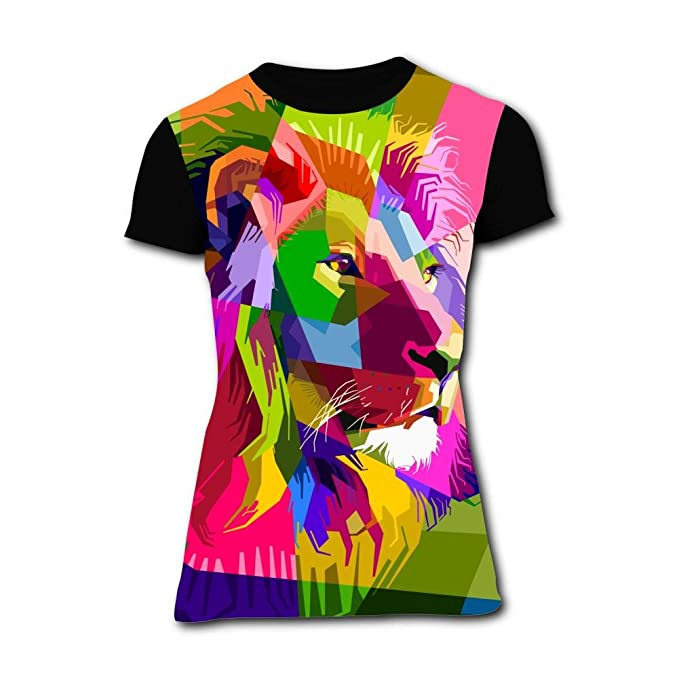 9b08a64c Womens Abstract Colorful Lion Casual T-Shirt Short Sleeve at Amazon Women's  Clothing store:
