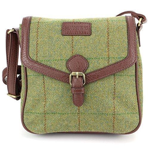 Hawkins Tweed Cross Body Messenger Shoulder Bag Handbag Mid Green