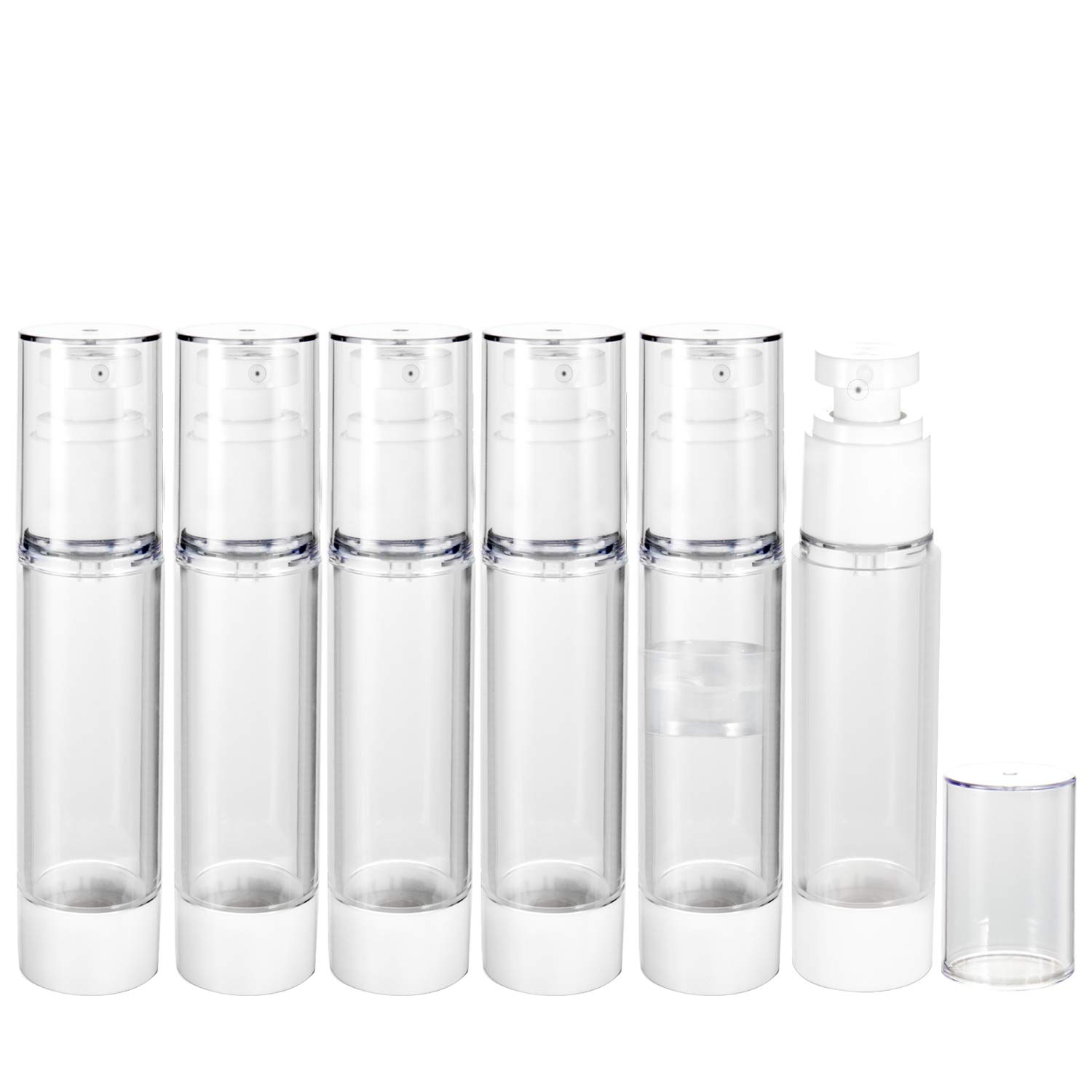 Spray Bottle, RUCKAE Airless Spray Bottle with Fine Mist Sprayer 6 Pack 1.7oz/50ml, Vacuum Travel Bottles Clear Refillable Container for Perfume, Toners, Soothing Water, Rose Water