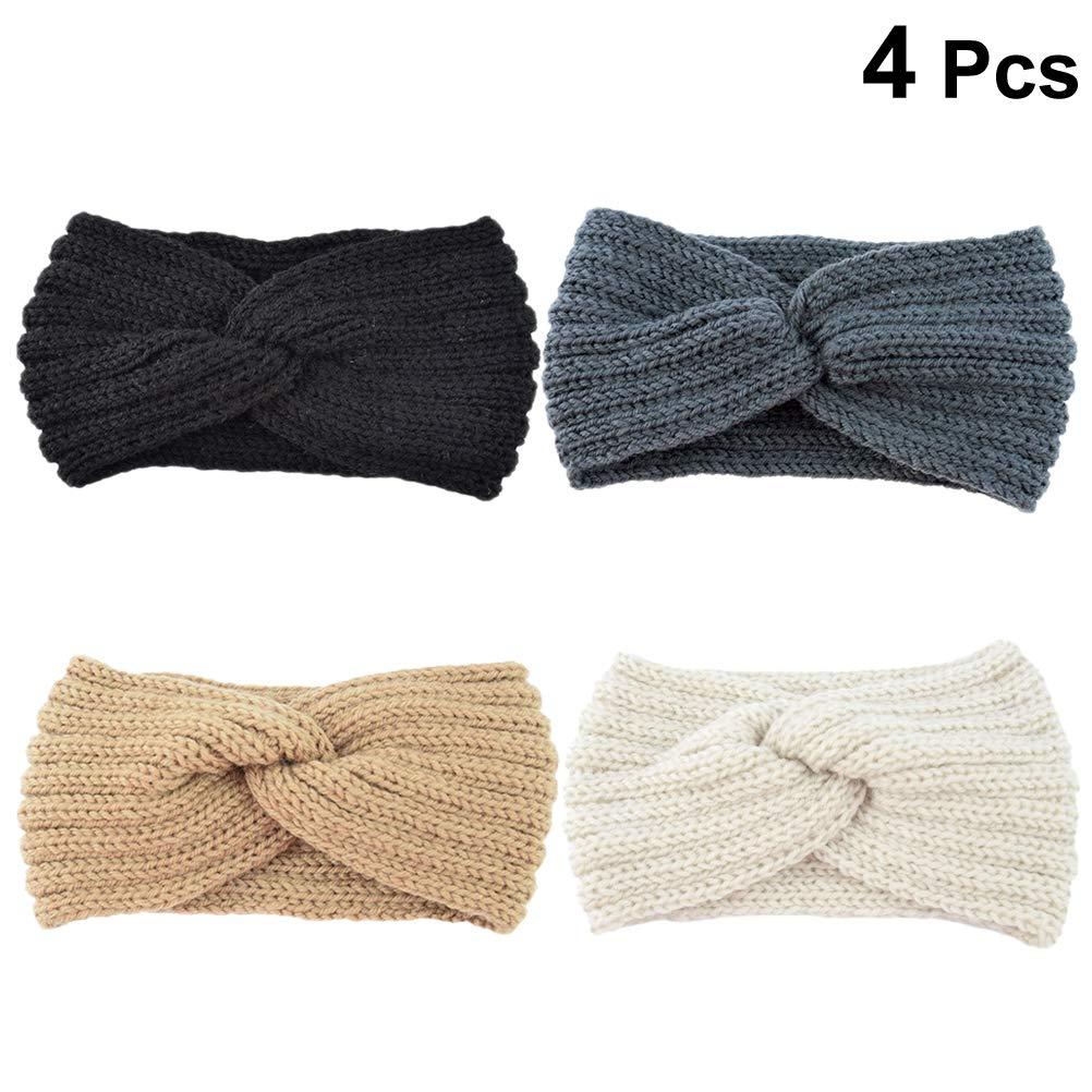 Frcolor donne uncinetto turbante fascia morbido paraorecchie Criss Cross per donne ragazze 4pcs