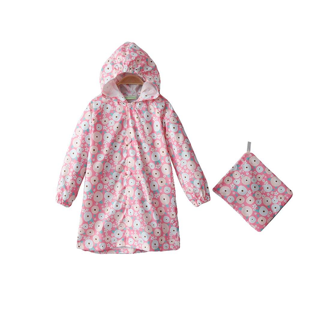 Children s Peony Print Hooded Waterproof Raincoat