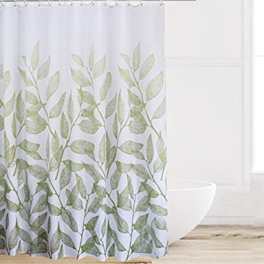 Eforcurtain Home Fashion Green Leaves Shower Curtain Fabric Water Proof Mildew Resistant, Durable Shower Curtain Liner with Thick Free Hooks, Standard Size 72 Inch Wide by 72 Inch Long, White