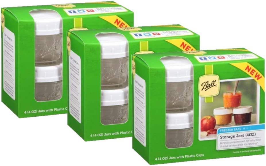 Ball 4-Piece Freezer Safe Storage Jar Set With Plastic Lids, 4 Ounces