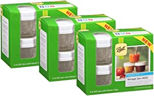 Ball 4-Piece Freezer Safe Storage Jar Set With Plastic Lids, 4 Ounces