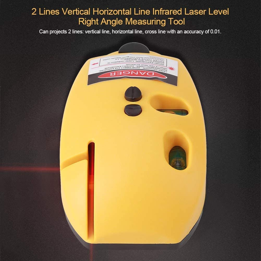 Ruiqas 2 Lignes Verticales Laser Infrarouge Niveau Ligne Horizontale Infrarouge Laser Niveau Angle Droit Outil de Mesure Jaune