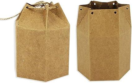 Starpalst, Pack de 6 Cajas Kraft Caja de Regalo, de Cartón, Para Decorar, Pintar y Guardar, Forma Hexagonal, 11.5 cm x 4,5 cm, Marrón: Amazon.es: Oficina y papelería