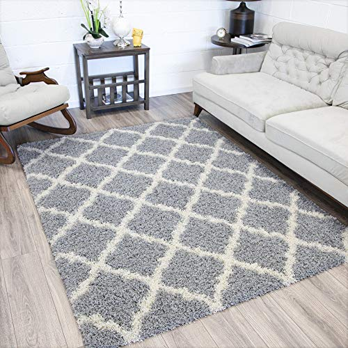 Shag Carpet - Ottomanson Collection shag Trellis Area Rug, 5'3
