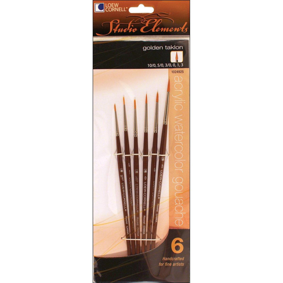 Loew-Cornell 1024925 Studio Elements Golden Taklon Short Handle Round Brush Set Loew Cornell
