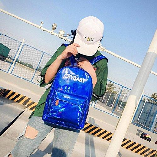 Goodsatar Mujeres Hombres Poliéster Mochila Mochilas del hombro Mochila escolar Mochila de viaje 26cmX12cmX38cm (Gris) Azul