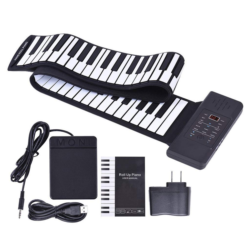 Thickened Roll Up Piano Folding Silicone Hand Roll Keyboard Electronic Digital Piano Keyboard Multifunction 88-Key, Black
