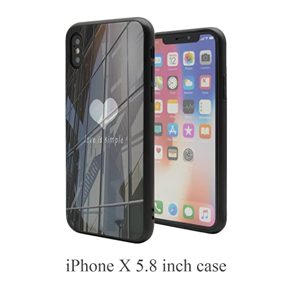 6e20678aa0 For iPhone X Case,CHANROY Smooth Shiny Glass Jet Black Back Cover with  Special heart