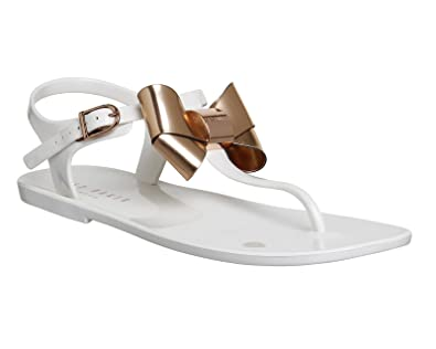 51989bd89e0181 Ted Baker Verona Bow Sandal Cream Rose Gold Exclusive - 8 UK  Amazon ...