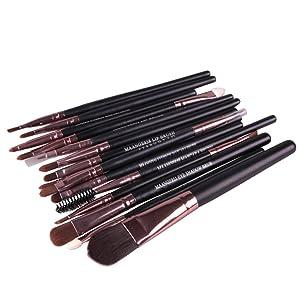 HUBEE 15pcs Pro Makeup Brushes Eyeshadow Eyeliner Lip Brush Set Powder Foundation Tool