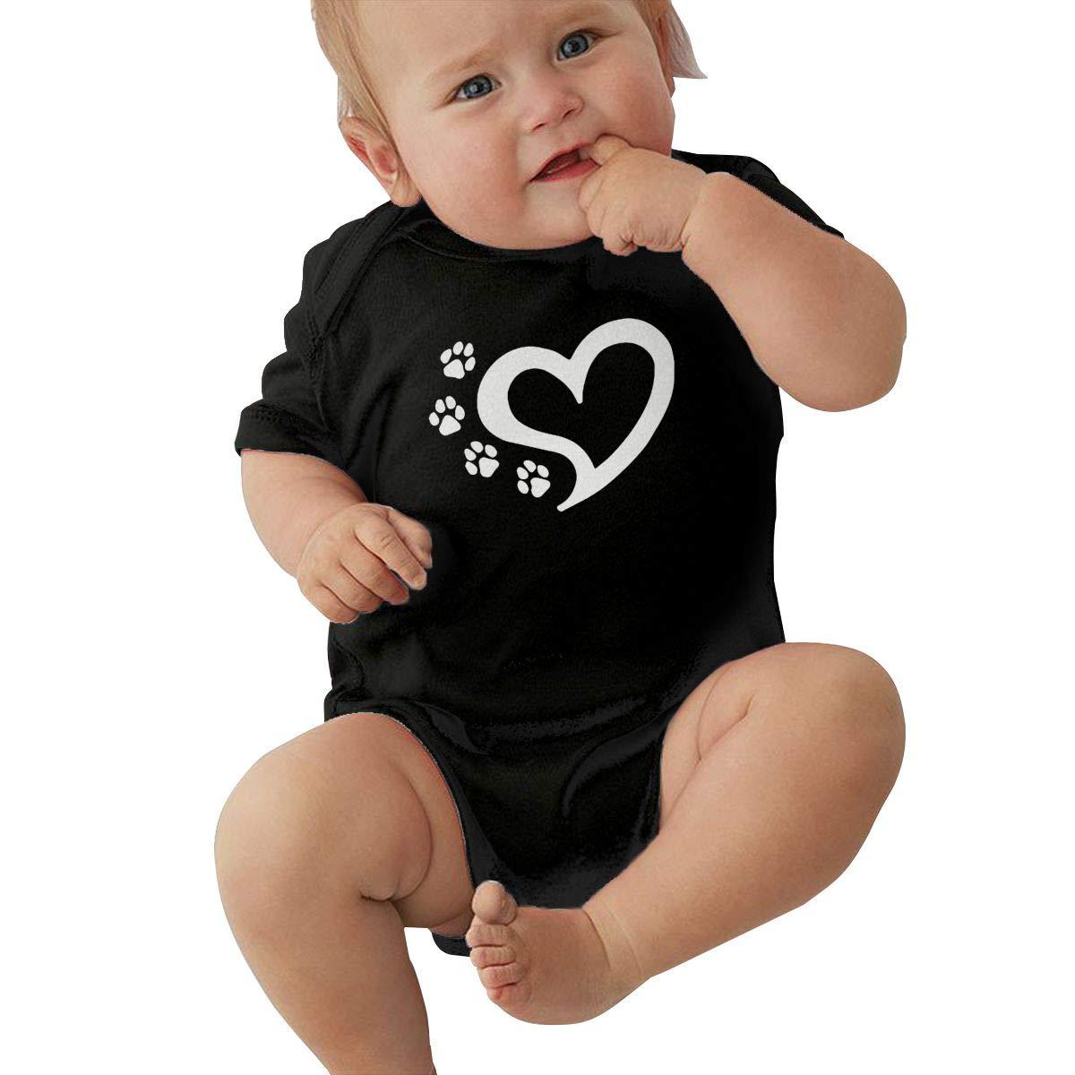 Cat Dog Paw Prints Heart Kawaii Summer Newborn Infant Baby Girls Boys Short Sleeve Bodysuit Jumpsuit Outfits Shirt