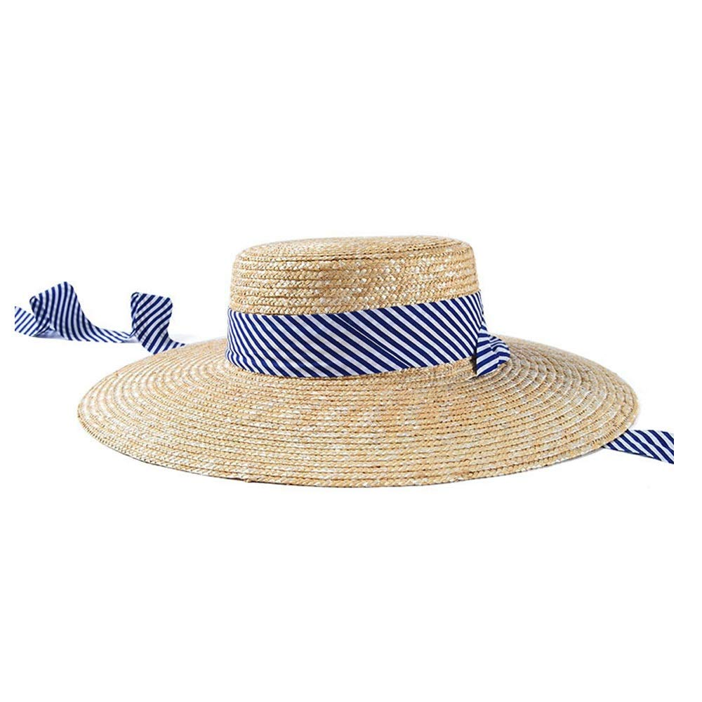 MUMUWU Sun Hat Women Straw Cap ElegantSpring Summer Wheat Shallow Top Flat Hat Ladies Stripe Strap Visor Cap (Color : Beige, Size : 56-58CM)