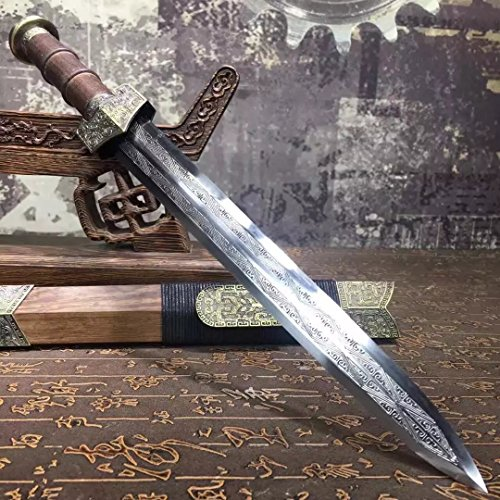 (Chinese Sword,Half-Sword,High Manganese Steel,Rosewood Scabbard,Alloy Parts,Length 18 inch)