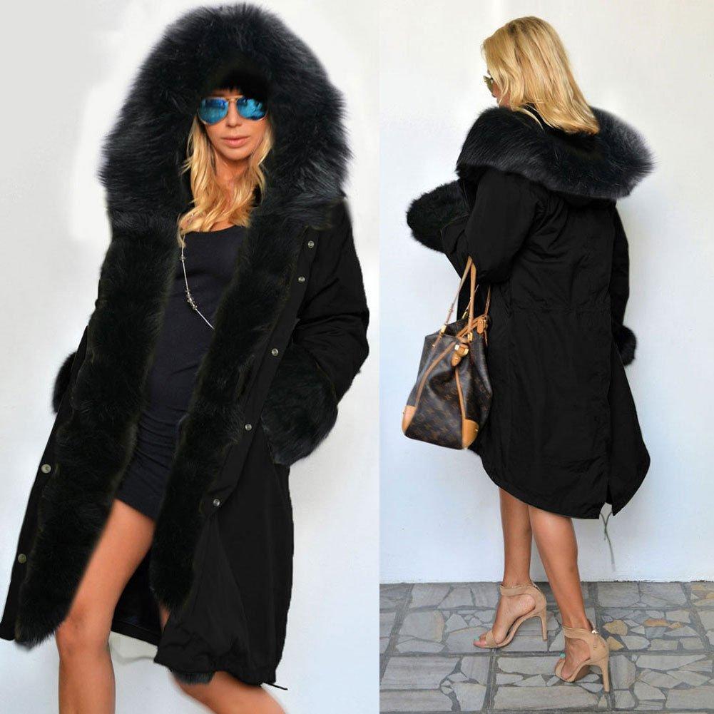 Roiii Women's Winter Thicken Faux Fur Hooded Plus Size Parka Jacket Coat Size S-3XL by Roiii (Image #2)
